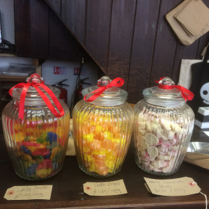 All  in gorgeous  old glass jars lovingly weighed out by hand and put into brown paper bags.  What can I tempt you with?