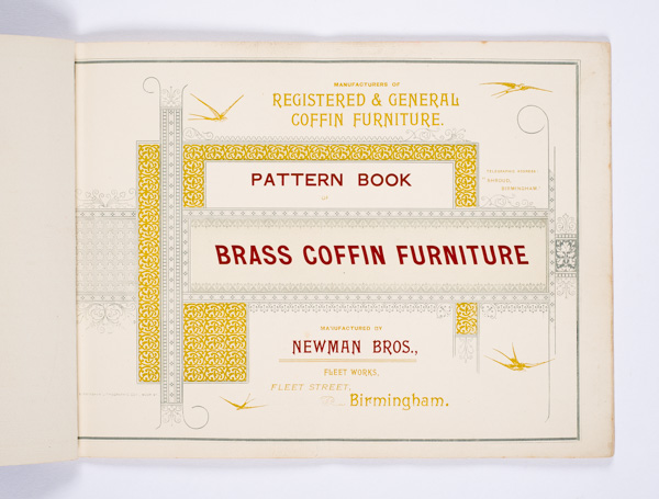 Very possibly Newman Brothers' first trade catalogue as coffin furniture manufacturers.