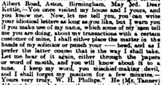 Excerpt from Birmingham Daily Post from 12 May 1898 reporting on the court summons raised by Edgar Kettle.