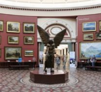 Panoramic view of round room at Birmingham Museum and Art Gallery. Statue of Lucifer by Jacob Epstein in the centre