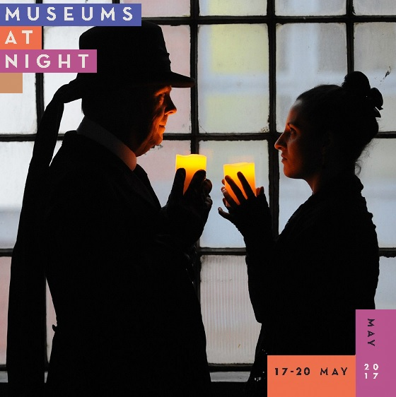 Museums at Night logo and image of candlelit tour