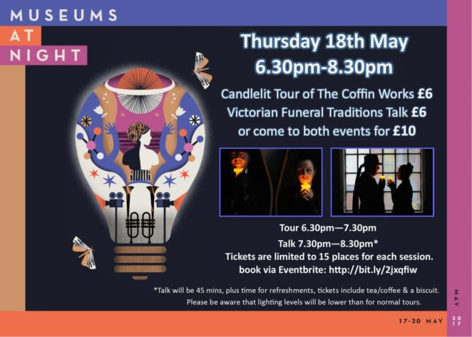 Museums at Night poster with logo and images of candlelit tour