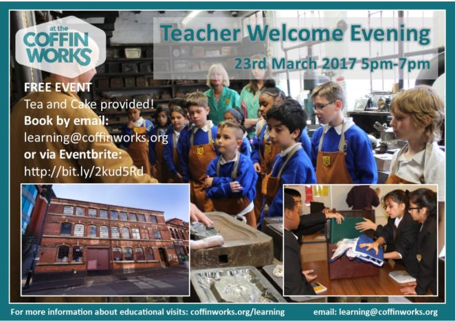 Teacher Welcome Evening Poster, showing two groups of children exploring the museum and discussing handling objects