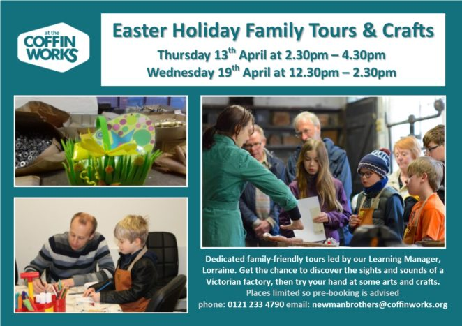 Easter Family Tours poster. Families enjoying tour, doing crafts and looking for Easter eggs.