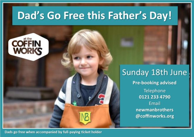 Dad's Go Free this Father's Day poster. Young boy smiling, he is wearing a brown apron with the Newman Brothers logo on it