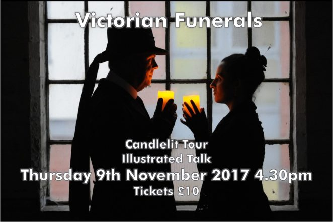 """Victorian Funerals"" poster. Man and woman stand in front of a window, dressed in Victorian clothing, they face each other and hold candles up in front of them."