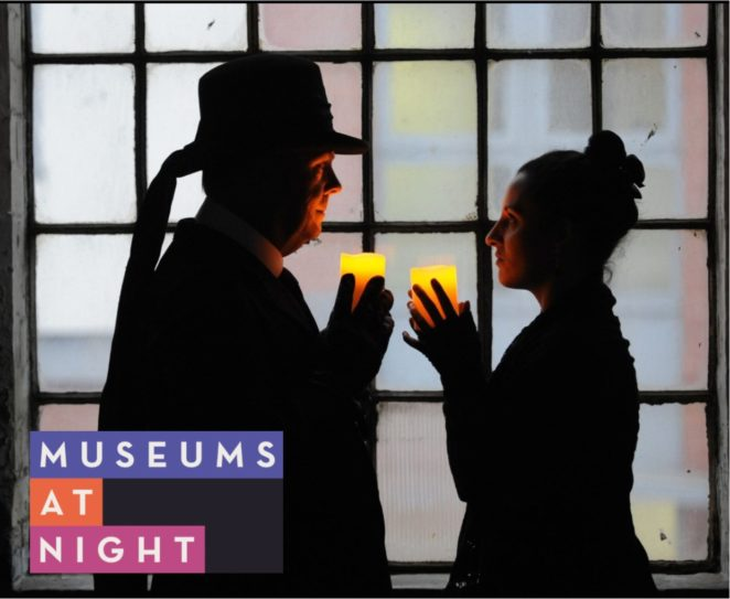 museums at night logo. Candlelit tour, a man and woman stand in front of a window, holding candles and facing each other.