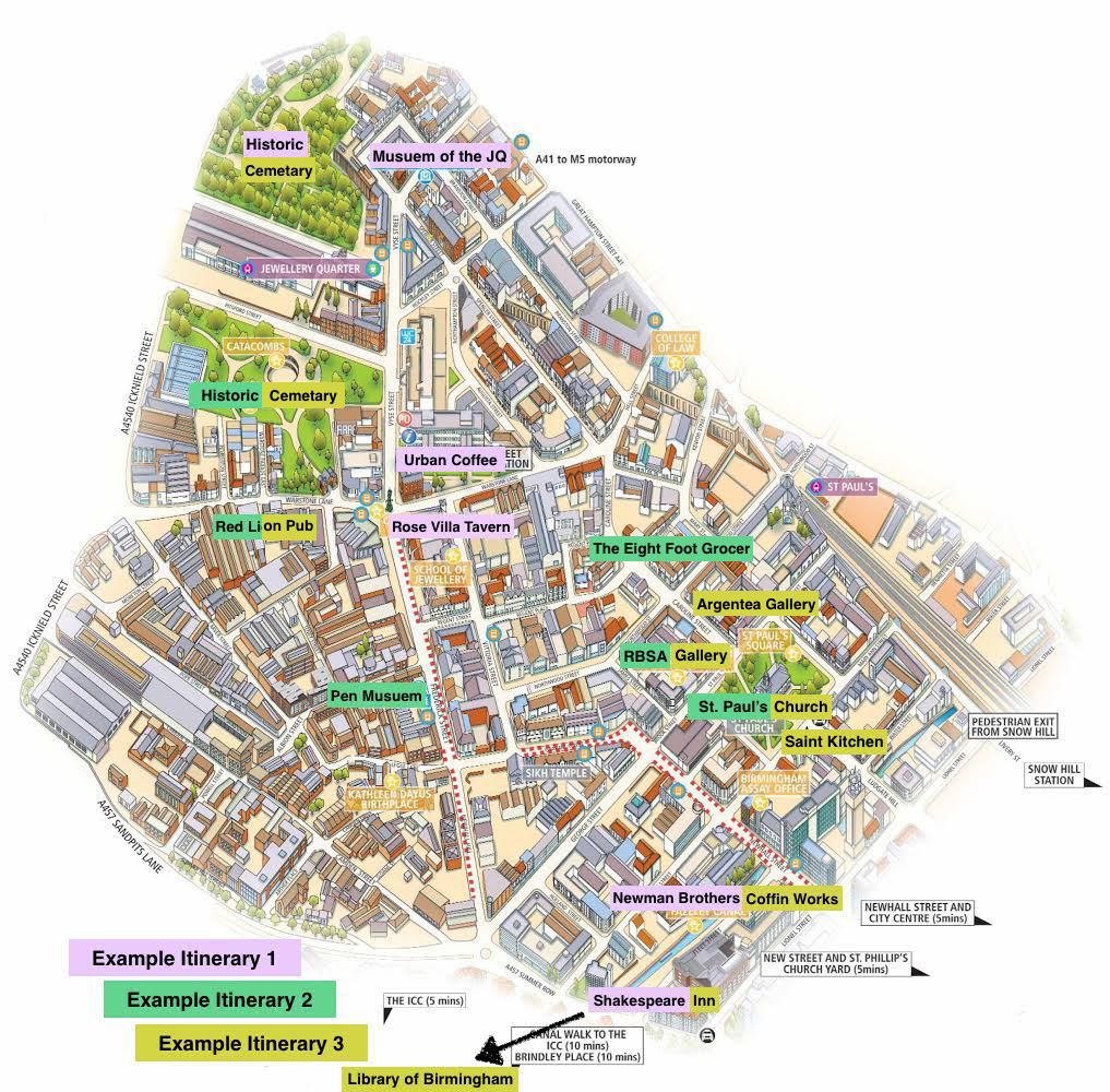 Suggested itinerary map of Jewellery Quarter