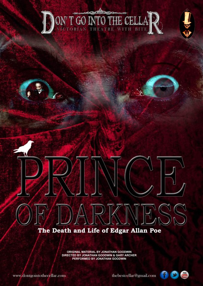 Prince of Darkness poster, two eyes stare out of ruffled red velvet material