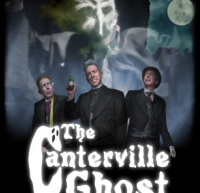 Canterville Ghost Poster Three male figures in the foreground, behind a large ghostly figure in a mask looms over them
