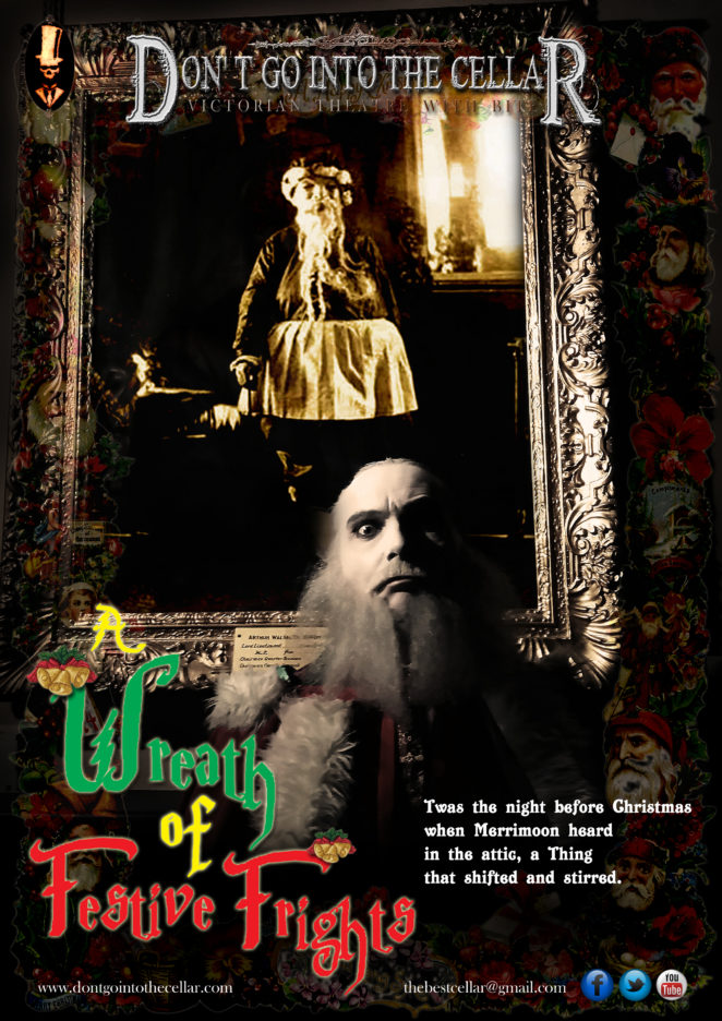 Wreath of Festive Frights poster featuring grey male figure standing in front of a framed image on a wall